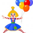 Funny Clown Girl - Stock Vector