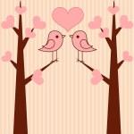 söta fåglar par — Stockvektor