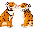 Stock Vector: Two Tigers in Love