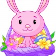Royalty-Free Stock Vector Image: Easter basket with bunny
