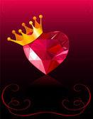 Carte de la saint-valentin avec coeur cristal — Vecteur