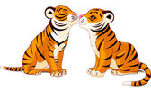 Two Tigers in Love — Stock Vector