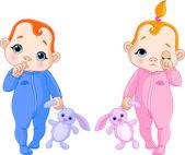 Cute babies going to sleep — Stock Vector