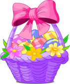 Easter Basket with bow — Stock Vector