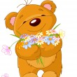 Teddy bear giving a bouquet — Image vectorielle