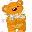 Teddy bear giving bouquet — Stock Vector #2147824
