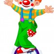 Clown on Unicycling - Stock Vector