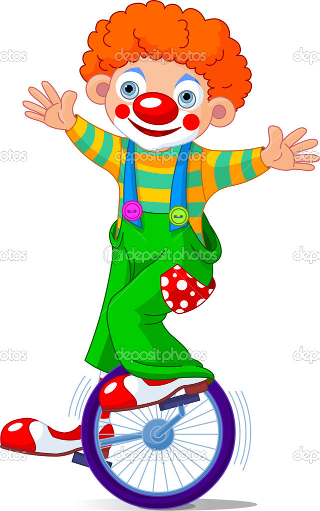 Cute Circus Clown on Unicycling. Vector Illustration — Imagen vectorial #2153347