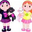 Cute little girls - Imagen vectorial