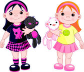 Cute little girls — Stock Vector