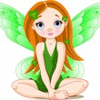 Stock Vector: Little cute green fairy for St. Patrick
