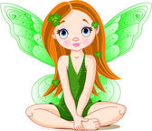 Little cute green fairy for St. Patrick — Vector de stock