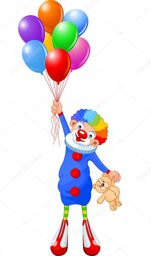 Funny clown flying with balloons. Vector illustration — Stock Vector #2351020