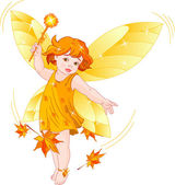 Autumn baby fairy — Stock Vector