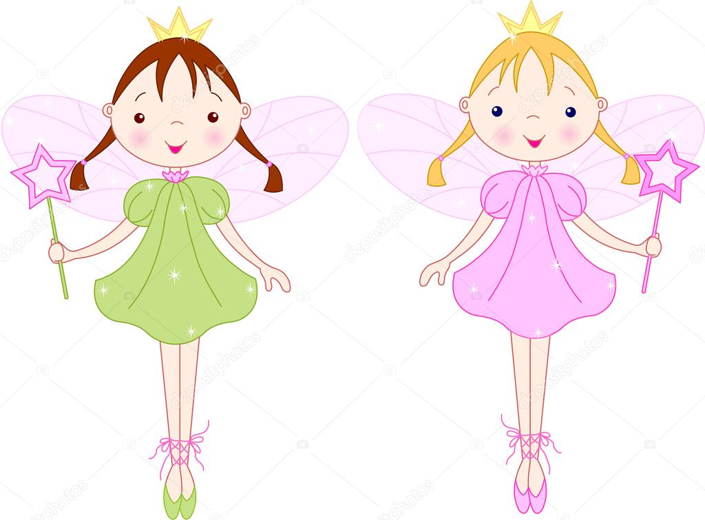 Two cute fairies with magic wand