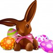 Chocolate Easter bunny — Stock Vector