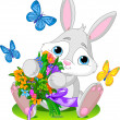Bunny with bouquet — Stock Vector