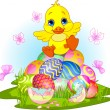 Happy Easter duckling — Stock Vector