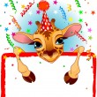 Baby Giraffe Birthday - Stock Vector