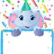 Baby-Elefant-Geburtstag — Stockvektor