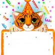 Baby Tiger Birthday — Stock Vector