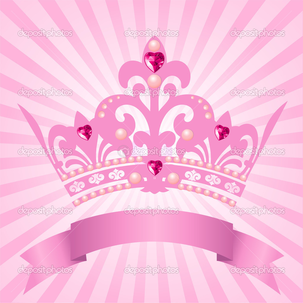 Pink princess crown vector