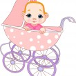 Stock Vector: Baby girl in carriage