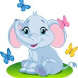 Stock Vector: Baby elephant
