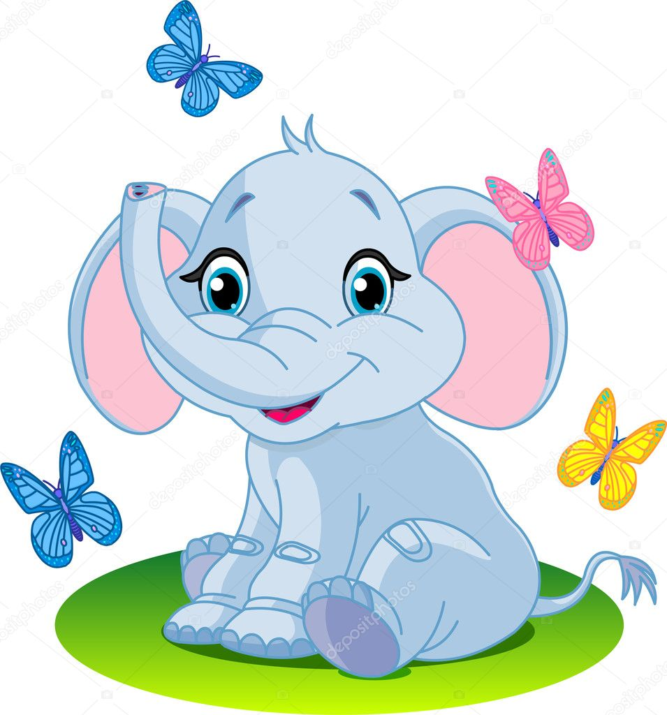 Very Cute baby elephant sitting; on the meadow;  Grafika wektorowa #2574286