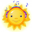 Sun listening to music — Stock Vector