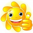 Sun Hand giving thumbs up — Stock Vector
