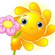 Cute Summer Sun giving a flower — Imagen vectorial