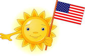 Summer Sun with American flag — Stock Vector