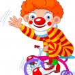 Royalty-Free Stock Vector Image: Clown on three-wheeled bicycle