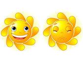 Happy Sun and Sad Sun — Stock Vector