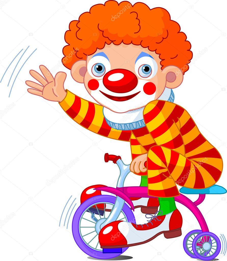 clown auf fahrrad mit drei r dern stockvektor. Black Bedroom Furniture Sets. Home Design Ideas
