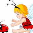 Cute baby fairy and ladybug — Stock Vector