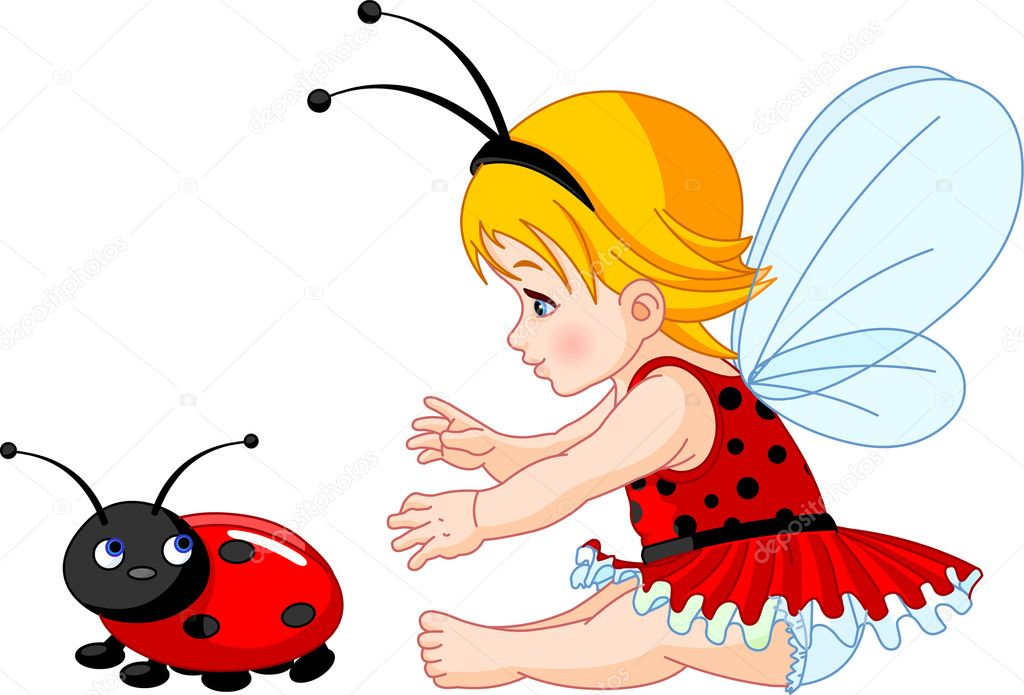 The little fairy girl tries to catch a ladybird — Stock Vector #2676677
