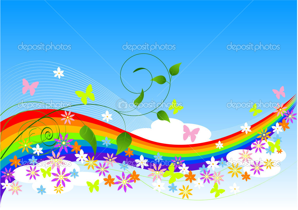 Abstract Spring Background with rainbow, flowers and butterflies — Stock Vector #2676700