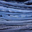 Stack of Blue Jeans Background — Stock Photo