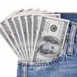 Hundred dollar bills in jeans pocket — Stock Photo #1376261