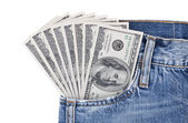 Hundred dollar bills in jeans pocket — Stock Photo