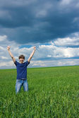 Young man achieved his goal! — Stock Photo