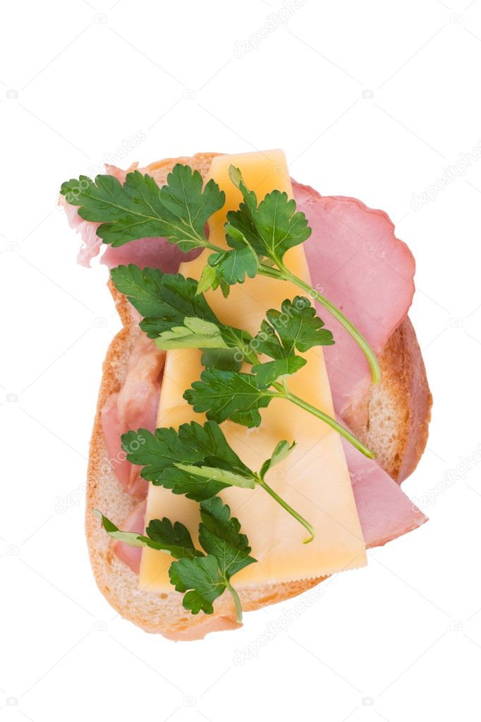 Open faced sandwich with ham, cheese and parsley isolated over white  Stock Photo #1376224