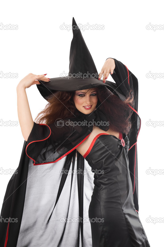 Beautiful young witch for Halloween over white — Stock Photo #1376565