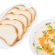 Clear Chicken Broth with Sliced Bread — Stock Photo