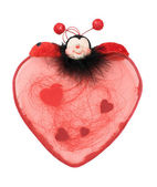 Red heart with ladybird for Valentine — Stock Photo