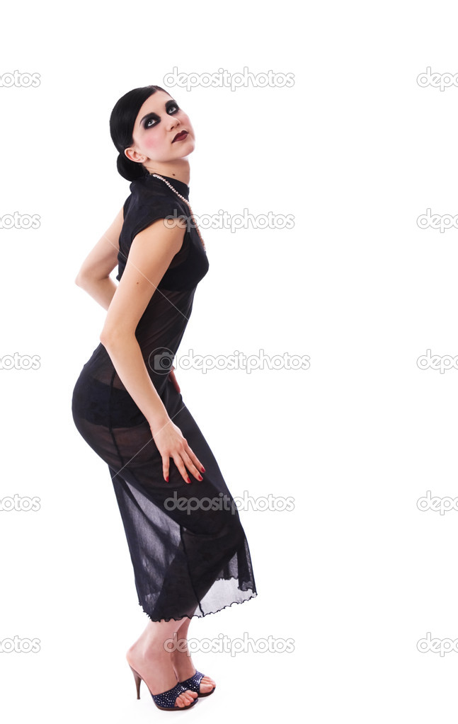 Retro styled seductive girl in dark dress — Stock Photo #1758841