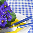 Royalty-Free Stock Photo: Violets on a plate