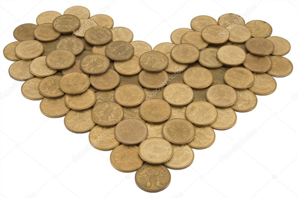 Heart from coins on a white background  Stock Photo #1133075